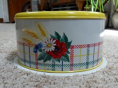Mid Century, Retro Metal Tin Cake Pie Carrier Server with Flowers and Butterfly
