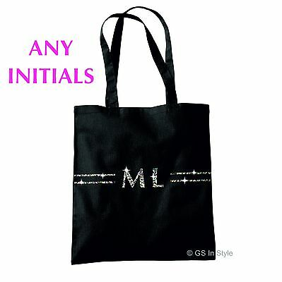 Personalised Fashion Tote Bag In Glitter With Any Initials Hen Party Gift Cotton