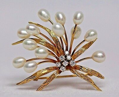 Dazzling 14K GOLD, DIAMOND, and PEARL Spray Motif BROOCH Pin