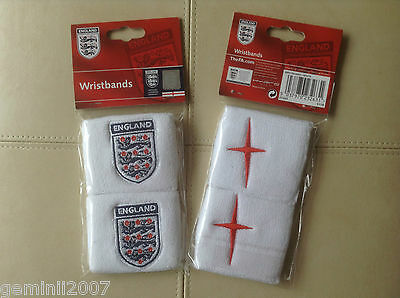 ENGLAND F.A  Wristbands - Pack of 2 - White - Sport Football Tennis - BNWT