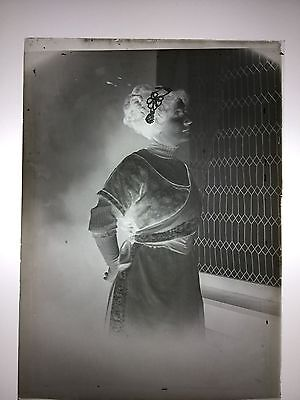 Antique LOT of 4 Photo Photography Glass Plate Negative Studio Woman Creepy Girl