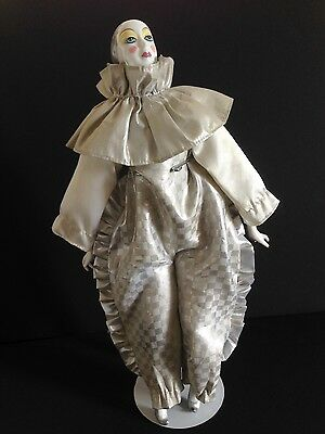 """Vintage Porcelain Pierrot Clown Mime Jester Harlequin 17"""" Doll Silver (AS IS)"""