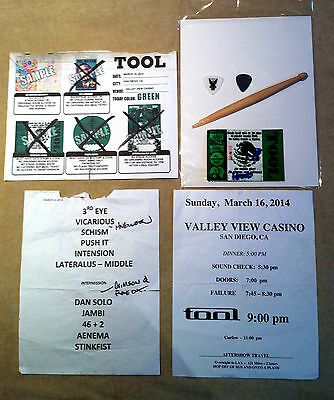 Guitar Pick  - Tool - Setlist, Drumstick, 2 Picks, Schedule, Backstage Pass-Rare