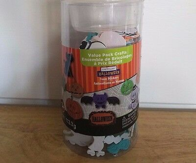 Halloween Value Pack Crafts Lot of Foam Stickers. bats, jack-o-lanterns, ghosts+