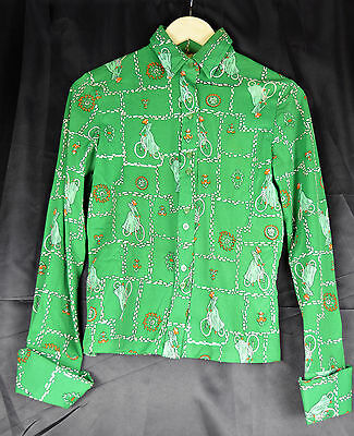 Vintage 1970's Green Patterned Blouse / Shirt - Size 6/8