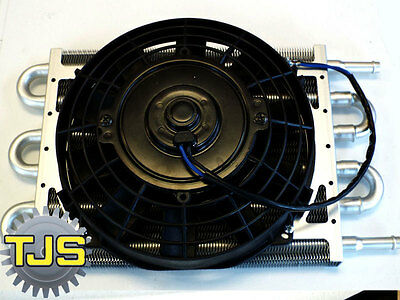 """,NEW 10""""X7"""" Aluminum Core Low Profile Automatic Transmission Oil Cooler with Fan"""