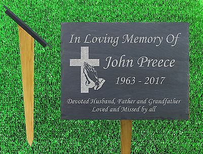 personalised slate and oak memorial stake grave marker plaque