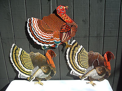 """Vtg Thanksgiving Turkey Decorations Lot/3 Paper 3-D Hanging Large 23"""" Colombia"""