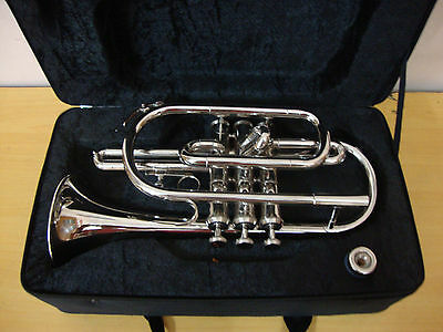 SUPER DEAL!Bb FLAT CORNETTRUMPET NEW CHROME PLATED +FREE CASE+M/P+FAST SHIP