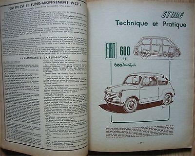 REVUE TECHNIQUE AUTOMOBILE FIAT 600 et MULTIPLA N°140 de 12/1957