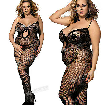 Plus+ Size UK 18-28 Ribbon Bow Bodystocking Lingerie Nighties Catsuit Underwear