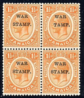 JAMAICA 1916 1.5d Orange 'S in Stamp Omitted' WAR STAMP in BLOCK of FOUR sg71b