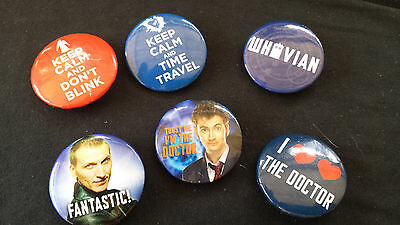 6 Dr Doctor Who Badge Pin Buttons  1 1/4""