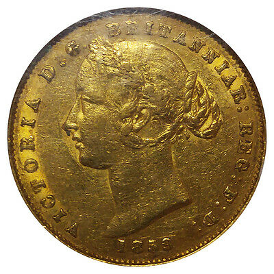 ULTRA RARE IN AU! 1859-S Victoria Sydney Mint Gold Sovereign Coin AU-53 NGC