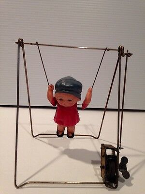 Vintage  Mechanical Acrobat Celluloid Trapeze Wind Up Toy Girl As Is Japan