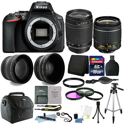 Nikon D5600 24.2 MP D-SLR Camera + 18-55mm & 70-300mm Lens + 16GB Accessory Kit