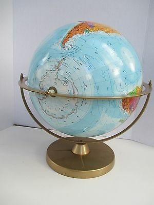 "Vintage REPLOGLE 12"" DIAMETER WORLD NATION SERIES GLOBE On Metal Stand w/Story"