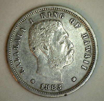 1883 Silver Kingdom of Hawaii 10 Cent One Dime Coin Extra Fine XF