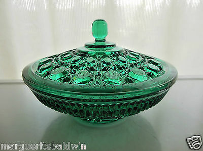 Federal Indiana Glass Green Windsor Candy Dish Bowl & Cover