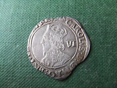 CHARLES 1st  1625-1649.  SILVER SIXPENCE.  SUPERB PORTRAIT.   NICE CONDITION.