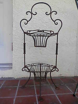 Old 2 Tier Cast Iron Wrought Iron Basket Planter Stand With Handle Metal Basket