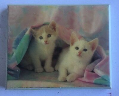 Vintage 1989  Plaque Kittens Cats Wooden Wall Hanging Picture USA