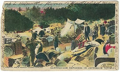 1906 Postcard Earthquake Refugees In Jefferson Park San Francisco Earthquake