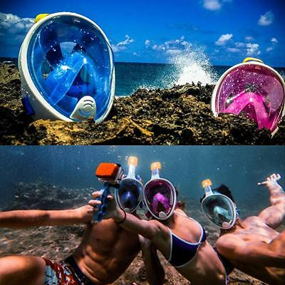Swimming Diving Breath Full Face Mask Surface Snorkel Scuba for GoPro L/XL/S/M q