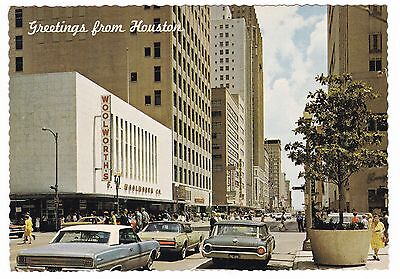 1968 Houston Texas Downtown Woolworth's Vintage Postcard Mercury Cougar Cars Tx