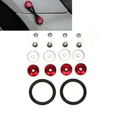 Fastener Screw Quick Release Bolt On Bumper Fender JDM Trunk Loop Ring Red Kit
