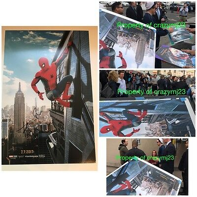 Tom Holland Robert Downey jr Signed Spider-Man Homecoming Poster Autograph PROOF