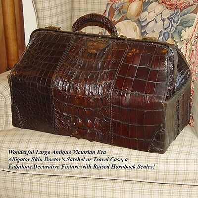 "Gorgeous Large Antique Victorian 20"" Alligator Satchel, Raised Hornback Scales"