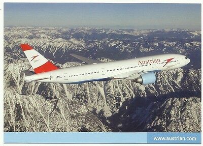 """Austrian Airlines operated by Tyrolean - """"Boeing B777"""" postcard"""