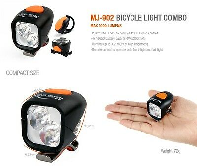 Magicshine MJ-902 2000 lumen LED Bike light 2 x CREE XM-L2 LED & Rear Red Light