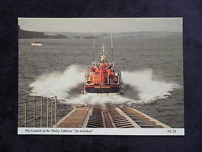 "Vintage Welsh Postcard of The Launch of the Tenby Lifeboat ""Sir Galahad"""
