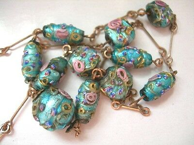Vintage Edwardian,Art Deco Turquoise Blue Foil Lampwork Glass Bead+Wire Necklace