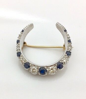 Antique 9k Moon Crest Pin With Diamond And Sapphire