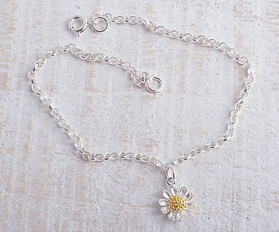 Sterling Silver Daisy Flower Charm Ankle Chain Bracelet Anklet 925