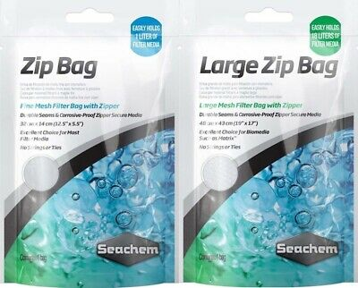 Seachem Zip Up Media Bag & Large Fish Tank Aquarium Filter Phosphate Carbon