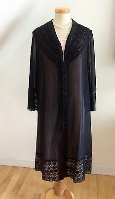 Vintage 20s Evening Coat Chinese Embroidery Black Silk Deco Paris 1920s Flapper
