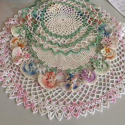 Vtg tablecloth 3pc centerpiece crochet lace pink ivory green wed shower COT CHIC