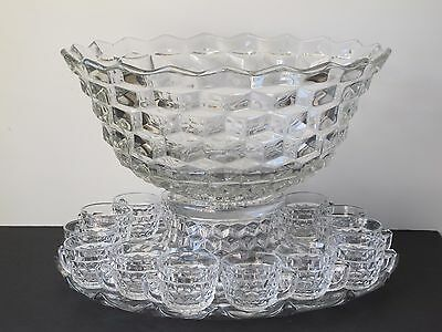 """Fostoria American 18"""" Punch Bowl Set w/ Stand, Underplate & 15 Punch Cups"""