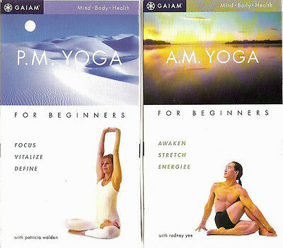 Gaiam brand VHS pair: Yoga A.M. + Yoga P.M. for Beginners -- Mind Body Health