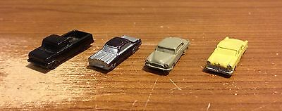 Lot of Four Z Scale Metal 1950's 1960's Cars Trucks Painted - Free Shipping