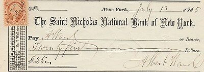 1865 Civil War Check   Saint Nicholas National Bank Of New York  W/revenue Stamp