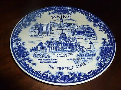 Maine Souvenir Plate, Pine Tree State Vintage Blue Transfer Ware  Lighthouses
