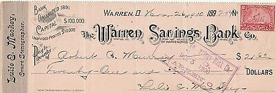 1900 The Warren Savings Bank Co. Warren Ohio  W/revenue