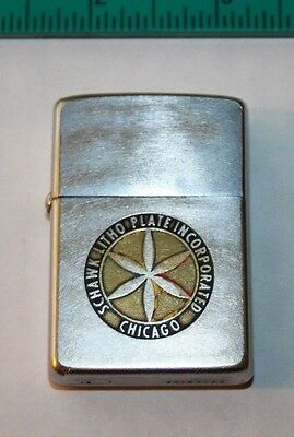 Vintage Schawk Litho Plate Incorporated Chicago Zippo Lighter 50's Advertising