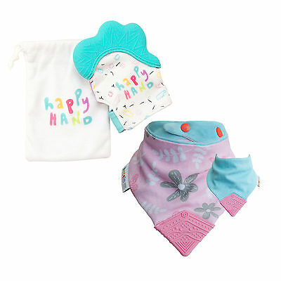 Happy Hand Teething Mitten and Dribble and Chew Teething Bib Combo - Save $4.95!