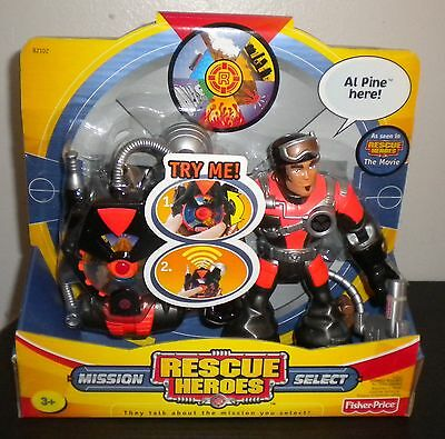 NEW 2003 FISHER PRICE RESCUE HEROES Mission Select Al Pine Figure